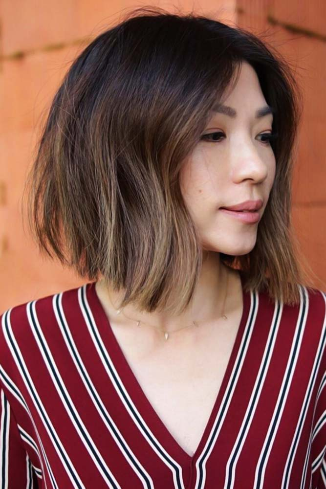 Middle Parted Lob For Thick Hair #bob #layeredhair