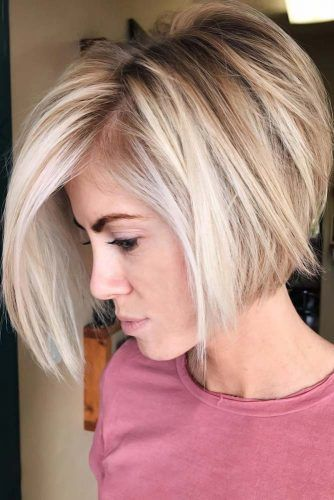 Messy Bob With Stacked V-Cut Layers #bob #layeredhair