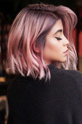 Feathered Medium Style Pink #mediumhair #bob
