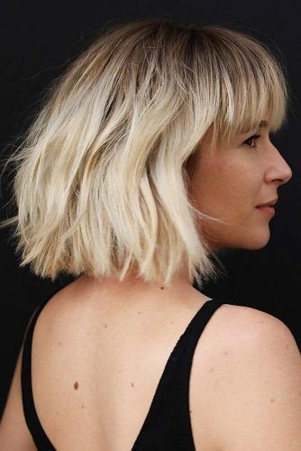 Messy Bob With Bangs #mediumbob #mediumbobhaircuts #haircuts #bobhaircuts