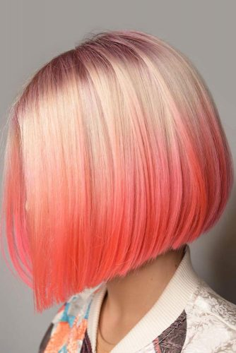 Peach Ombre Color Options Medium Bob #mediumbob #haircuts #bobhaircuts #straighthair
