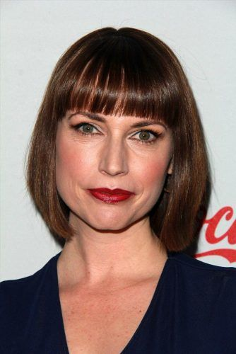 Straight Bob With Blunt Bangs #mediumbob #mediumbobhaircuts #haircuts #bobhaircuts