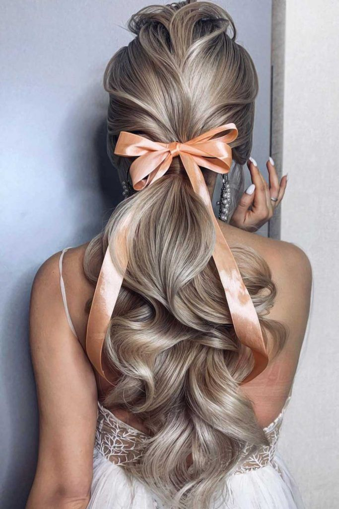 Bridesmaid Hair Pony With Accessories Bow #bridesmaidhair #bridesmaidhair styles