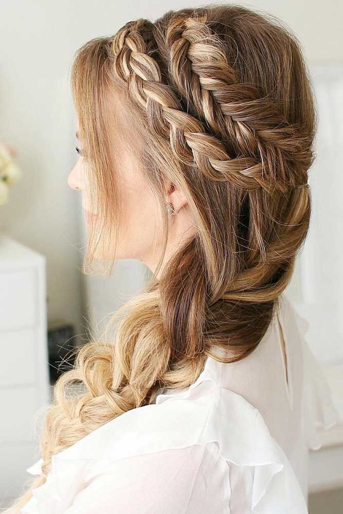 Combo Double Dutch Braids Hairstyles Halo #braids #dutchbraids