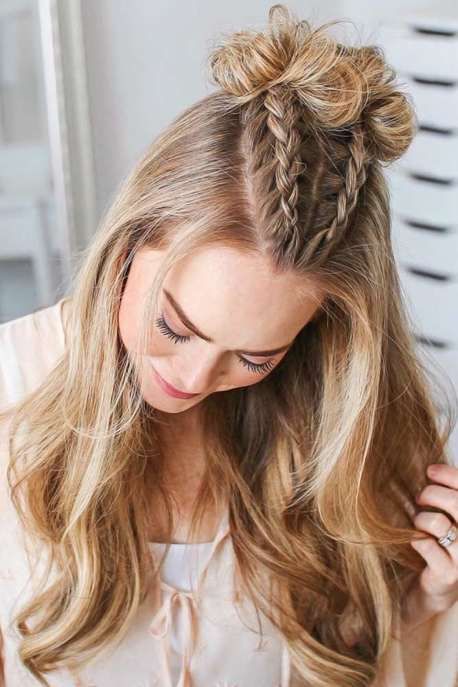Top Knots With Double Dutch Braids Blonde #braids #dutchbraids