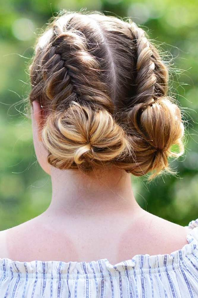 Buns With Double Dutch Fishtail Braids #braids #buns