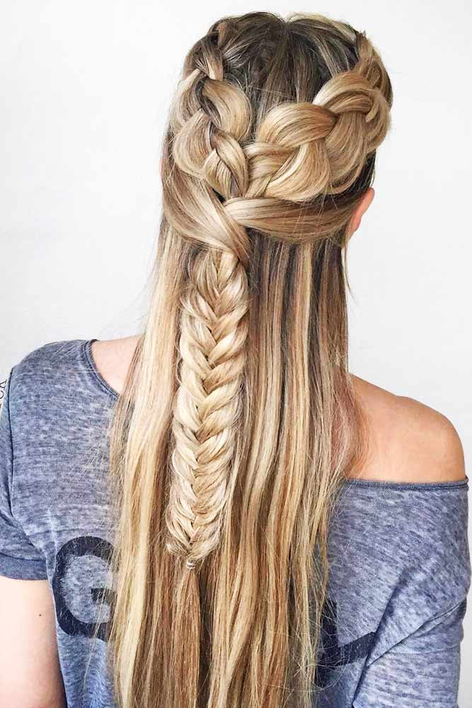 Combo Double Dutch Fishtail Braids Hairstyles #braids #half-up