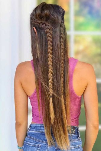 Combo Double Dutch Braids Half-Up Hairstyles #braids #half-up