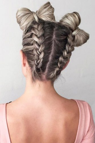 Combo Double Dutch Braids Bow Hairstyles #braids #updo