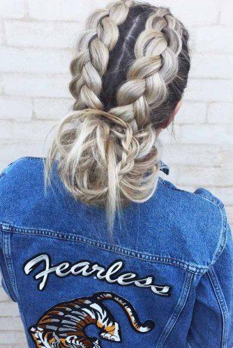 Messy Buns With Double Dutch Braids #braids #buns