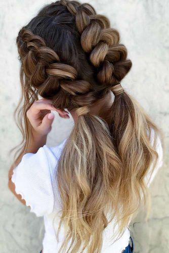 Double Dutch Braids & Ponytails Ombre #braids #dutchbraids