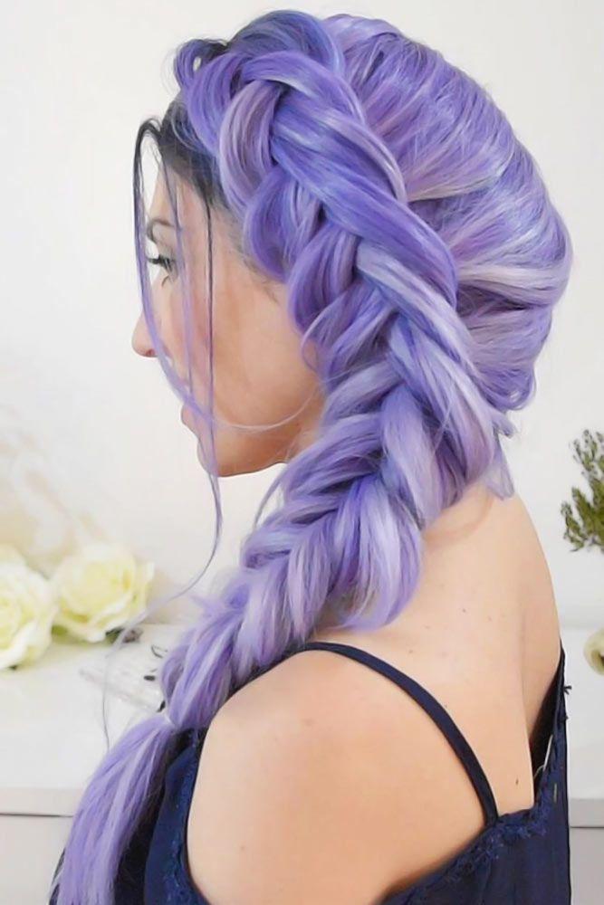 Side Dutch Braid Styles Purple #braids #dutchbraids