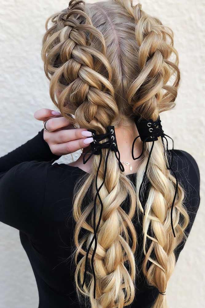 Double Dutch Braids & Ponytails Stacked #braids #dutchbraids