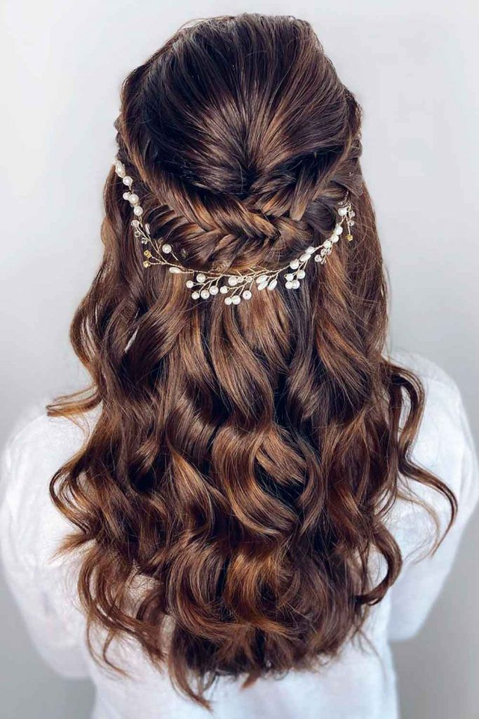 Accessorized Long Formal Hairstyles With Fishtail Braids