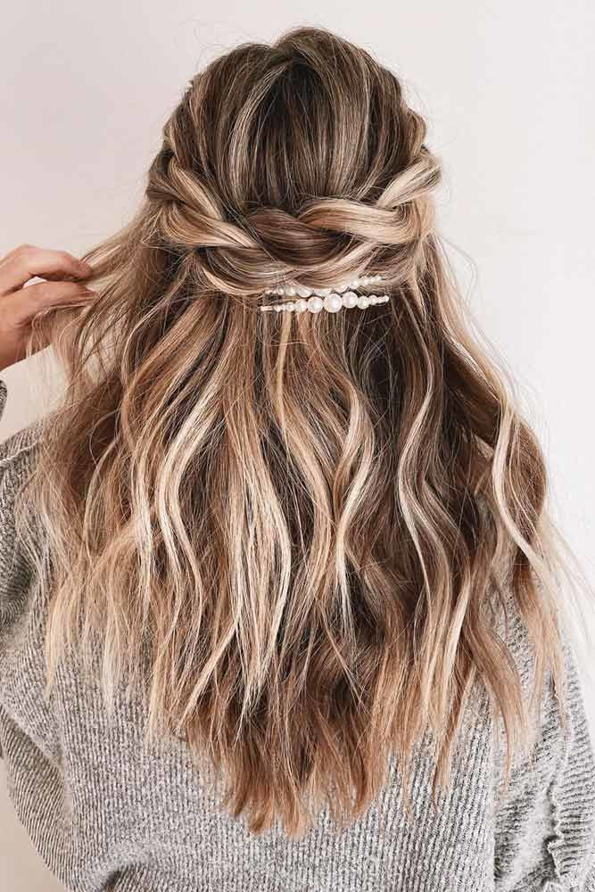 Messy Half Up Twisted Accessorized Formal Hairstyles #formalhairstyles #longhair #hairstyles