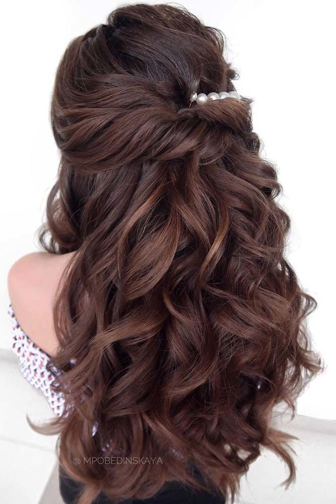 Half Up Twisted Accessorized Formal Hairstyles #formalhairstyles #longhair #hairstyles