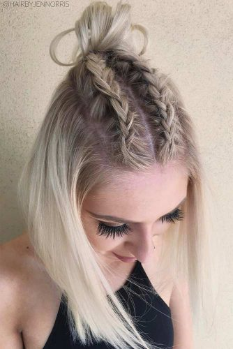 Embellish Your Top Knot with Dutch Braids picture1