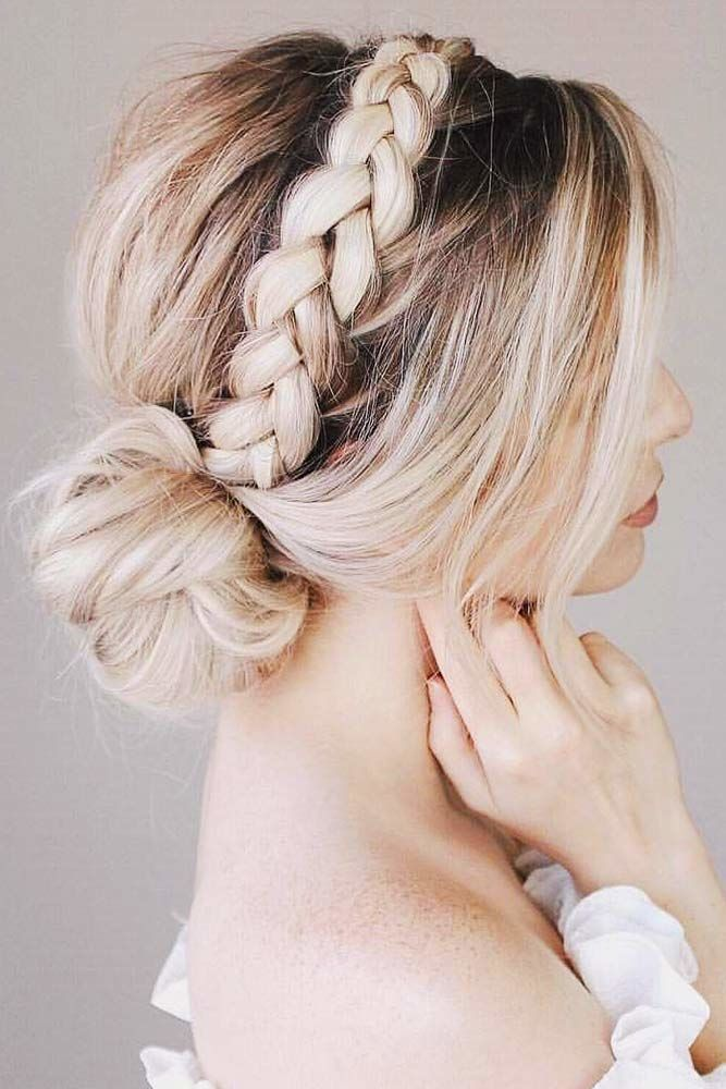 An Elegant Headband Into A Bun #crownbraids #braids