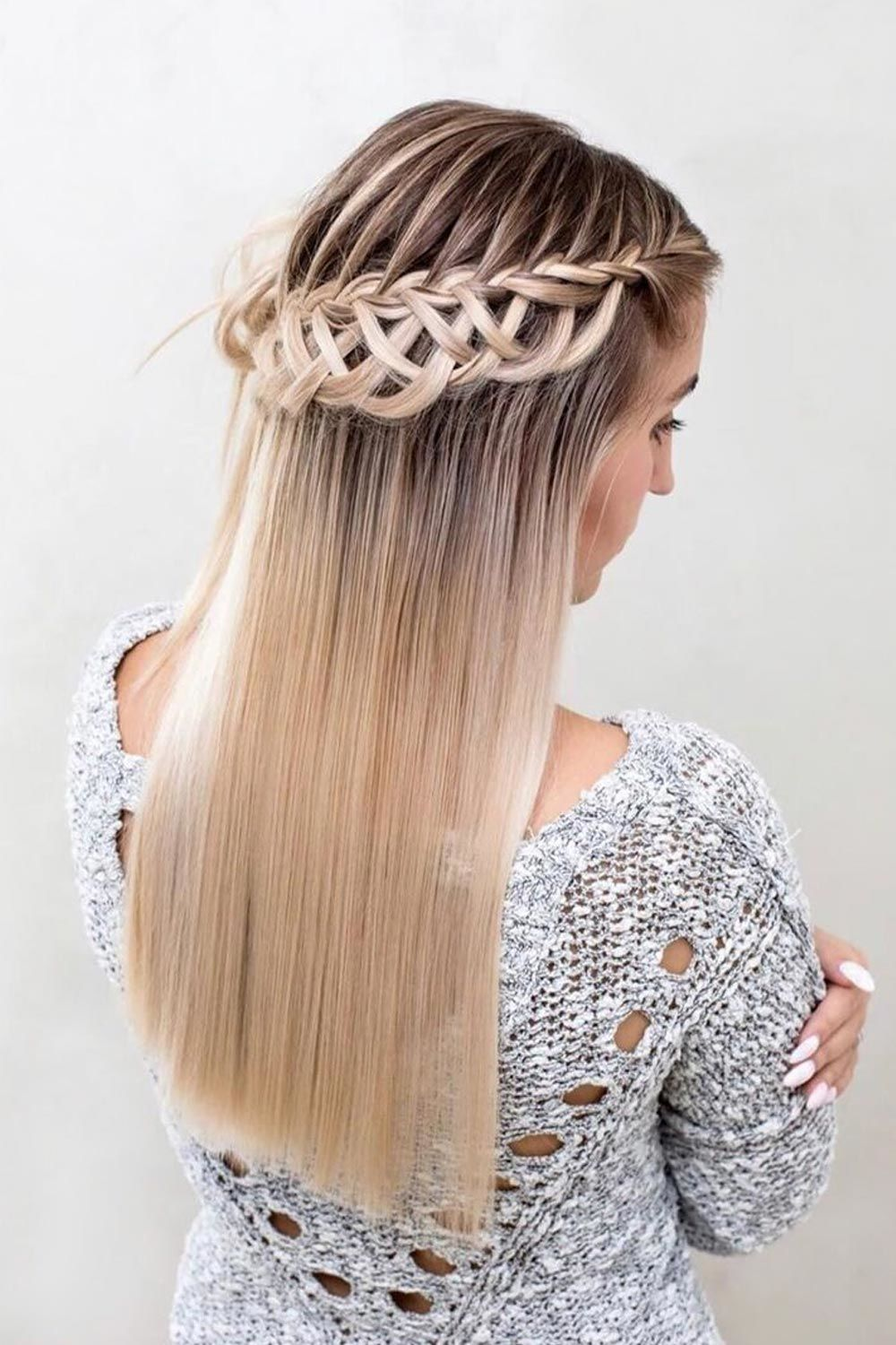 Long Blonde Hair Style With Ladder Braid