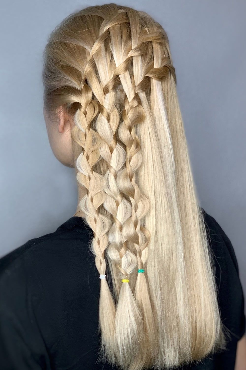 Hairstyle For Long Hair With Ladder Braids