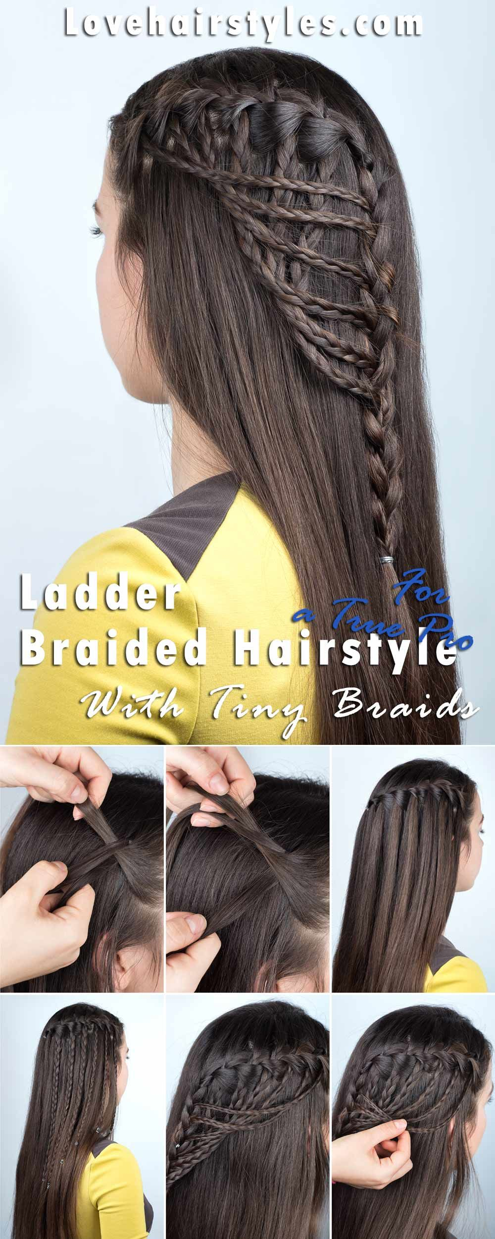Ladder Braided Hairstyle With Tiny Braids For A True Pro