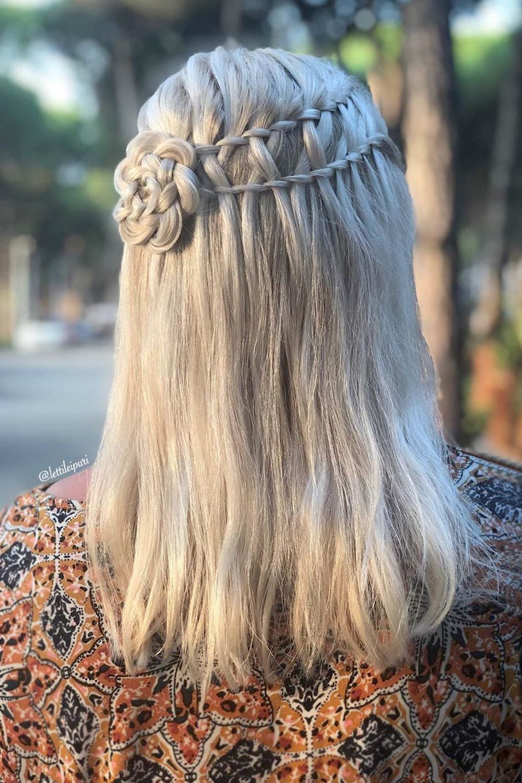 Medium Hair Hairstyle With Ladder Braid
