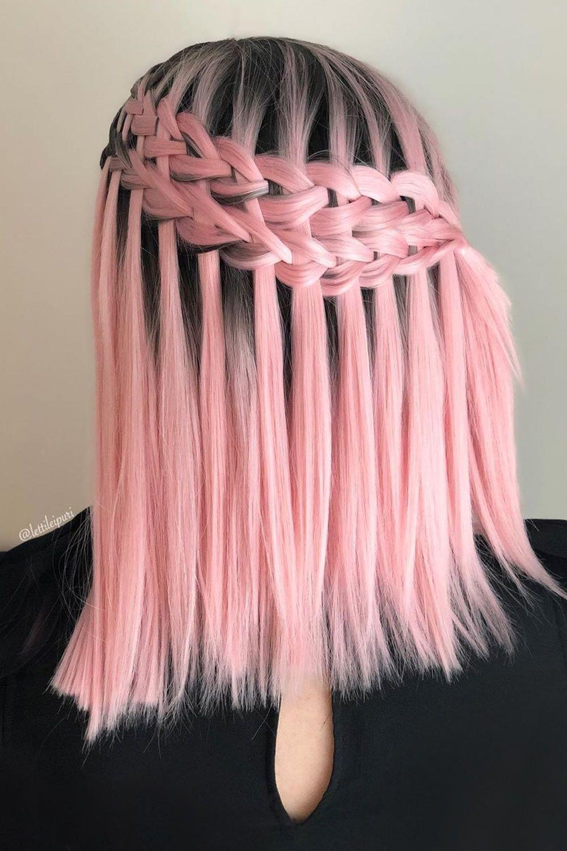 Pink Medium Hair With Ladder Braid