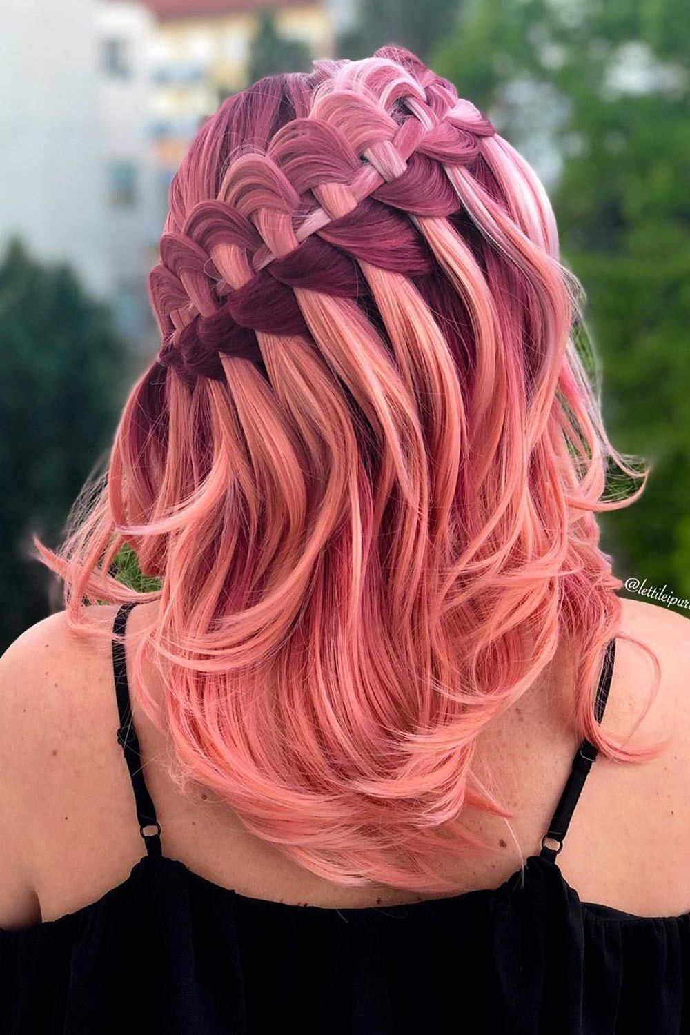 Pink Ombre Hair With Ladder Braid