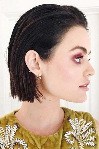 Swept Back Styling For Short Brunette Straight Hair #promhair #promhairstyles