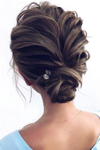 Simple Stylish Brunette Low Buns #updo #buns #promhair #promhairstyles