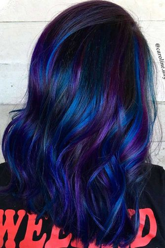 Beautiful Dark Blue and Dark Purple Hair Color picture 2