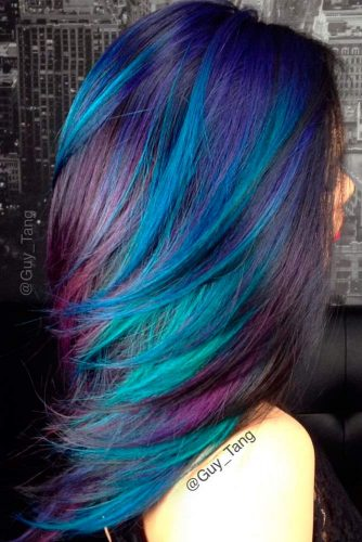 Beautiful Dark Blue and Dark Purple Hair Color picture 3