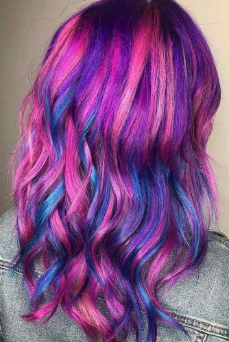 Purple With Blue Highlights #perplehair #bluehair #highlights