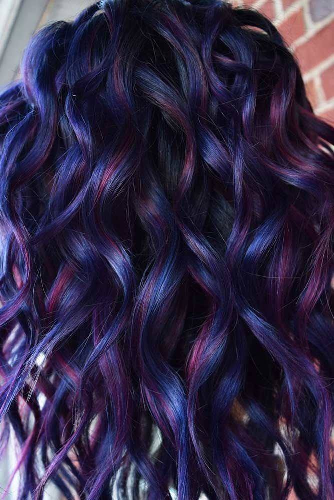 Blue And Purple Highlights With Black Roots #purplehair #bluehair