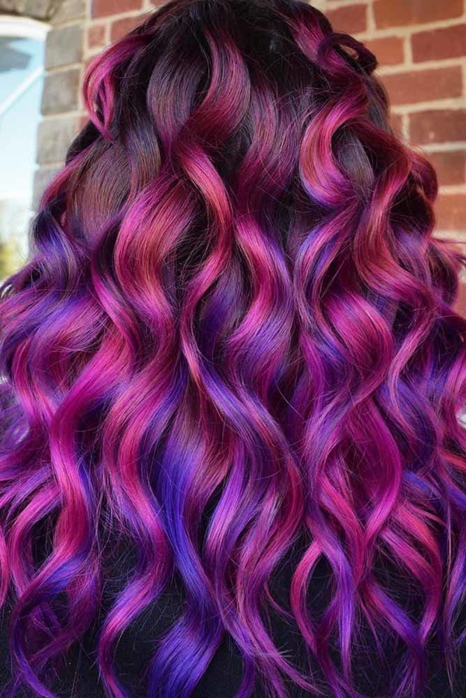 Purple Highlights With Blue Ends #purplehair #bluehair