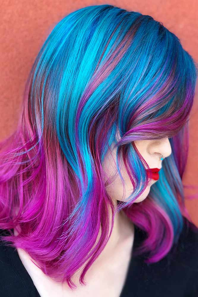 Ocean Blue With Purple #purplehair #bluehair