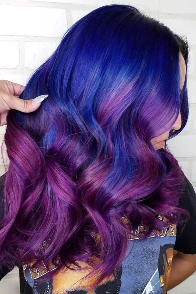 Blue To Purple Ombre #purplehair #bluehair