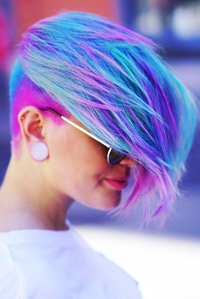 Pastel Blue With Light Purple #purplehair #pinkhair
