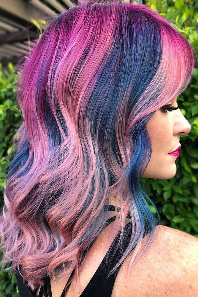 Pink Purple Balayage With Blue Contrast Lowlights #purplehair #highlights