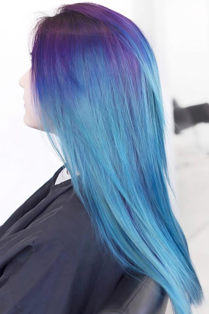 Sea Blue With Purple Roots #purplehair #bluehair