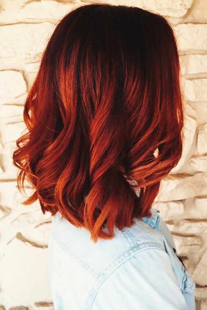 Brown and Burgundy Wavy Ombre