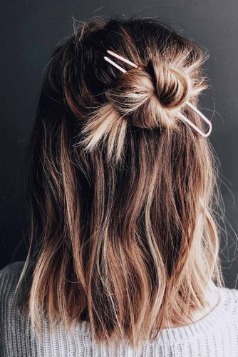 Half Up Half Down Hairstyle With Knot