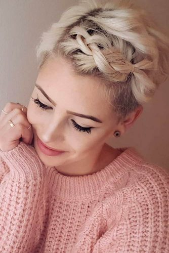 Blonde Pixie With Braided Bang
