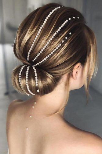 Low Bun With Accessories Pearls #weddinghairstyles #shorthair