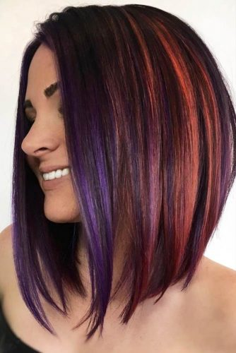 Straight Hairstyles For Shoulder Hair With Colored Highlights #shoulderlengthhair #longbob #hairstyles #straighthair #highlights