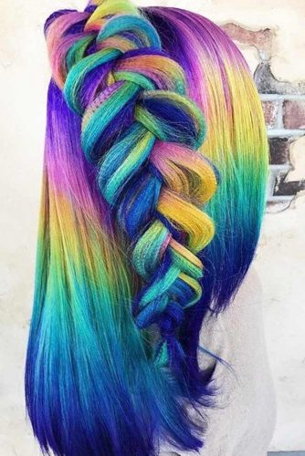 Rainbow Half Braided Hairstyles picture 1