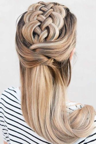 Gorgeous Half-Up Braids Ideas Four Strand #braids #longhair