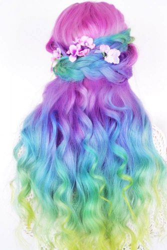 Rainbow Half Braided Hairstyles picture 2