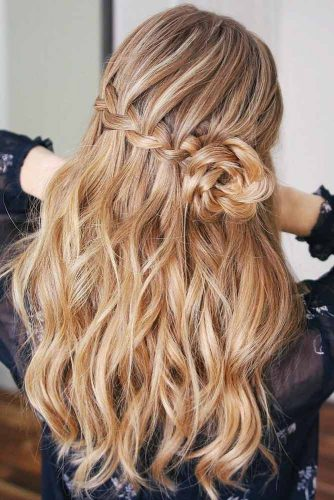 Gorgeous Half-Up Braids Ideas Waterfall #braids #wavyhair #longhair