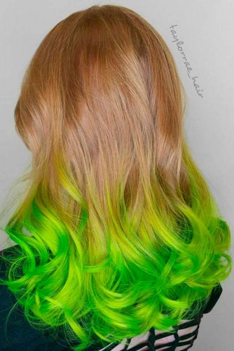 Blonde with Green Streaks